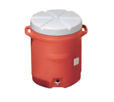 "Rubbermaid FG16100111 Cold Beverage Container, 10 gallon, 15-5/8"" dia. x 23-1/2"" H, polyethylene, orange, Made in USA"