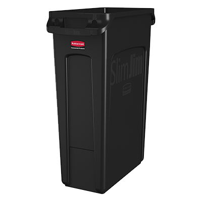 "Rubbermaid FG354060BLA Slim Jim® Container, 23 gallon, 22""W x 11""D x 30""H, with venting channels, black, Made in USA"