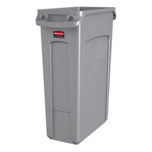 "Rubbermaid FG354060GRAY Slim Jim® Container, 23 gallon, 22""W x 11""D x 30""H, with venting channels, gray, Made in USA"
