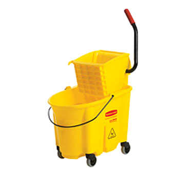 Rubbermaid FG758088YEL WaveBrake® Mopping Combo Pack, 7570 mop bucket; 6127-01 wringer, non-marking casters, yellow, Made in USA