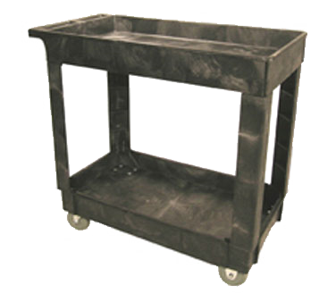 "Rubbermaid FG9T6600BLA Utility Cart, 34""L x 17-2/5""W x 32-2/5""H, 500 lbs. capacity, (2) shelves, open base, (2) fixed and (2) swivel 4"" casters, black, Made in USA"
