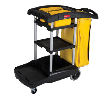 "Rubbermaid FG9T7200BLA High Capacity Cleaning Cart, 49-3/4""L x 21-3/4""W x 38-19/50""H, 5 cu. ft., aluminum & structural web plastic construction, black, Made in USA"