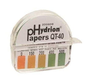 "FMP 142-1576 Litmus Paper, "" QUAT"", 0 - 500 PPM, 5/32"" x 15', dispenser, color-coded test chart"