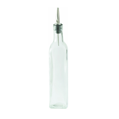 Winco GOB-16 Oil Bottle, 16 oz., square, with lid, glass, clear