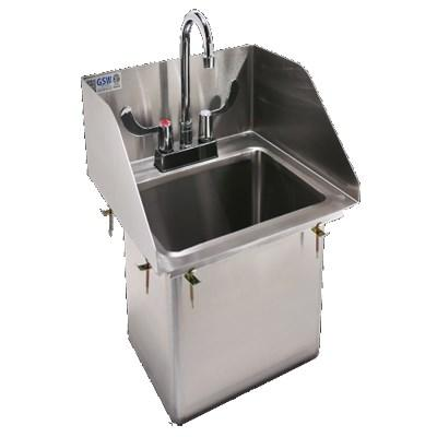 "GSW USA HS-1410IS Drop-In Hand Sink with 3 Side Splash Guards 14""W, ETL"