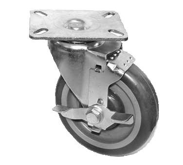 "GSW USA KP5112 Swivel Plate Caster With Side Brake, 4"" Dia., 3-1/8"" X 4-1/8"""
