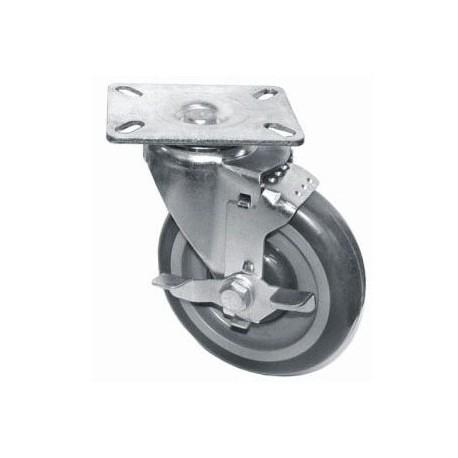 "GSW USA KP5113 Swivel Plate Caster With Side Brake, 4"" Dia., 5""H, 3"" X 3"""
