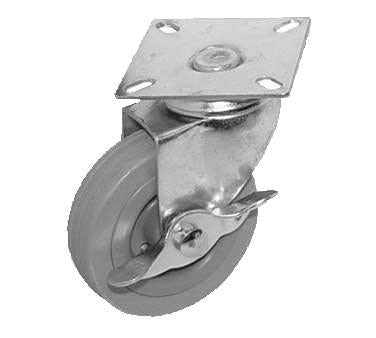 "GSW USA KP5143C Swivel Plate Caster With Side Brake, 4"" Dia., 2-1/2"" X 2-1/2"""
