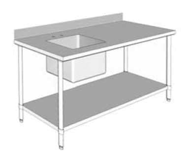 "GSW USA WT-PS3048L Work Table with Prep Sink, 48""W X 30""D X 35""H, ETL"