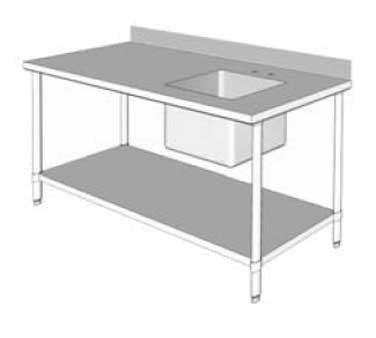"GSW USA WT-PS3060R Work Table with Prep Sink, 60""W X 30""D X 35""H, ETL"