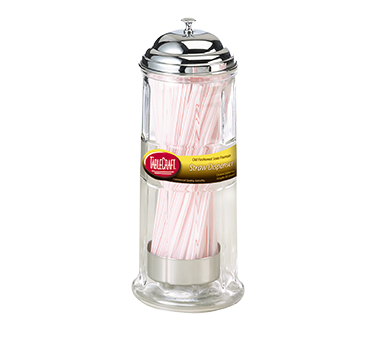 "TableCraft Products H714CH Straw Dispenser, 4-1/4"" x 4-1/4"" x 11"", glass, chrome plated top, includes 72 straws per dispenser"