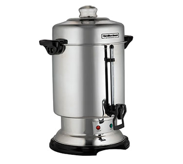 Hamilton Beach D50065 Coffee Urn/Percolator, 60 cup capacity, cup trip handle, stainless steel exterior, 120v/60/1-ph, cULus