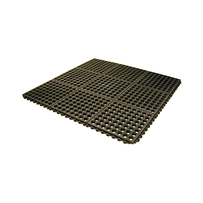 "Axia AFD3636BT Anti-fatigue Floor Mat, 36"" x 36"", 1/2"" thick, (2) interlocking sides, rubber, black, NFSI certified"