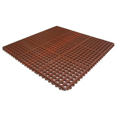 "Axia AFD3636TT Anti-fatigue Floor Mat, 36"" x 36"", 1/2"" thick, (2) interlocking sides, grease resistant, rubber, red, NFSI certified"