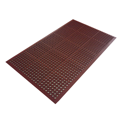 "Axia AFD3660TN Economy Anti-Fatigue Floor Mat, 36"" x 60"", 3/8"" thick, light weight, grease resistant, rubber, red, NFSI certified"