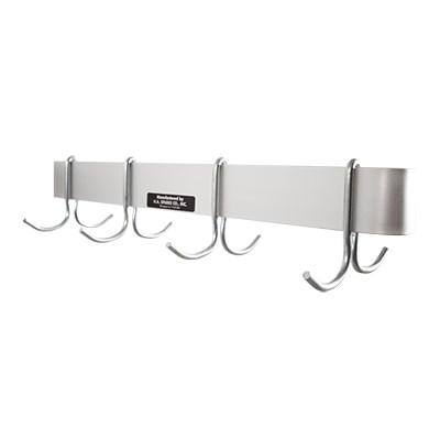 "H.A. Sparke PP-4 Pot & Pan Rack, wall mount, single, 48""L x 8-1/2""W, (10) plated steel double hooks, Made in USA"