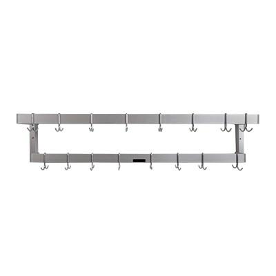 "H.A. Sparke PP-8 Pot & Pan Rack, wall mount, double, 53"", (16) plated steel double hooks, Made in USA"