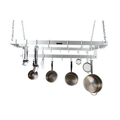 "H.A. Sparke PPC-6 Pot & Pan Rack, ceiling mount, triple, 48""L x 21""W, (24) plated steel double hooks, alloy aluminum, Made in USA"