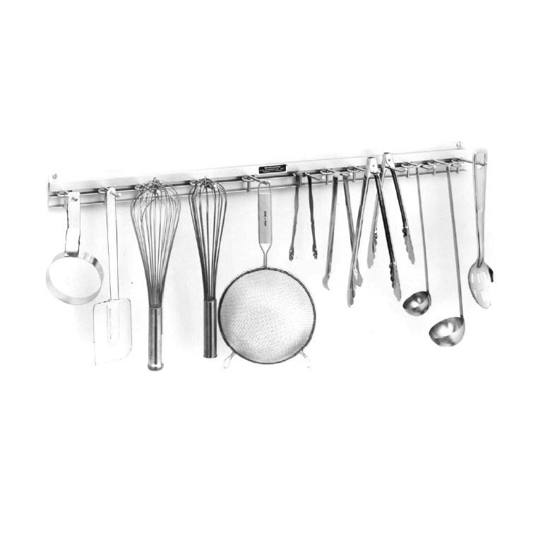 "H.A. Sparke SRK-3 Snap Rack Utensil Rack, 36"", wall mount, satin finish, anodized aluminum, Made in USA"