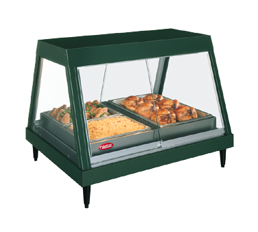 Hatco GRHDH4PD Glo-Ray® Heated Display Case, countertop, glass front design, (4) pan dual shelf, humidity with 6 qt. capacity, cULus, UL EPH Classified, Made in USA