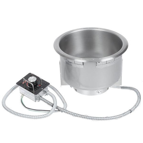 Hatco HWB-4QTD Single Drop In Round Heated Soup Well with Drain, 4 Qt - 240V
