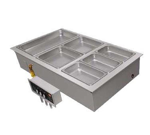 Hatco HWBLI-6DA Drop-In Hot Food Well (with Drains & Auto-Fill), (6) Full Size Pan Capacity, Stainless Steel / Aluminum