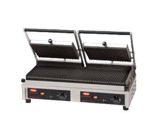 Hatco MCG20GS Double Commercial Panini Press with Cast Iron Grooved Top/Smooth Bottom Plates, 208v/1ph