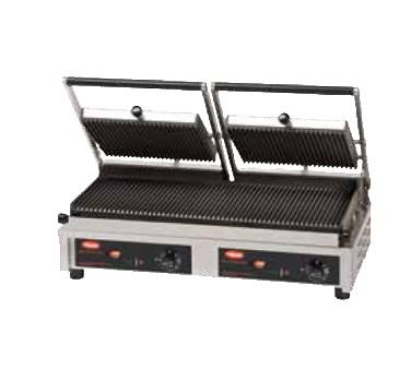 Hatco MCG20G Multi Contact Double Panini Sandwich Grill with Grooved Cast Iron Plates - 208V