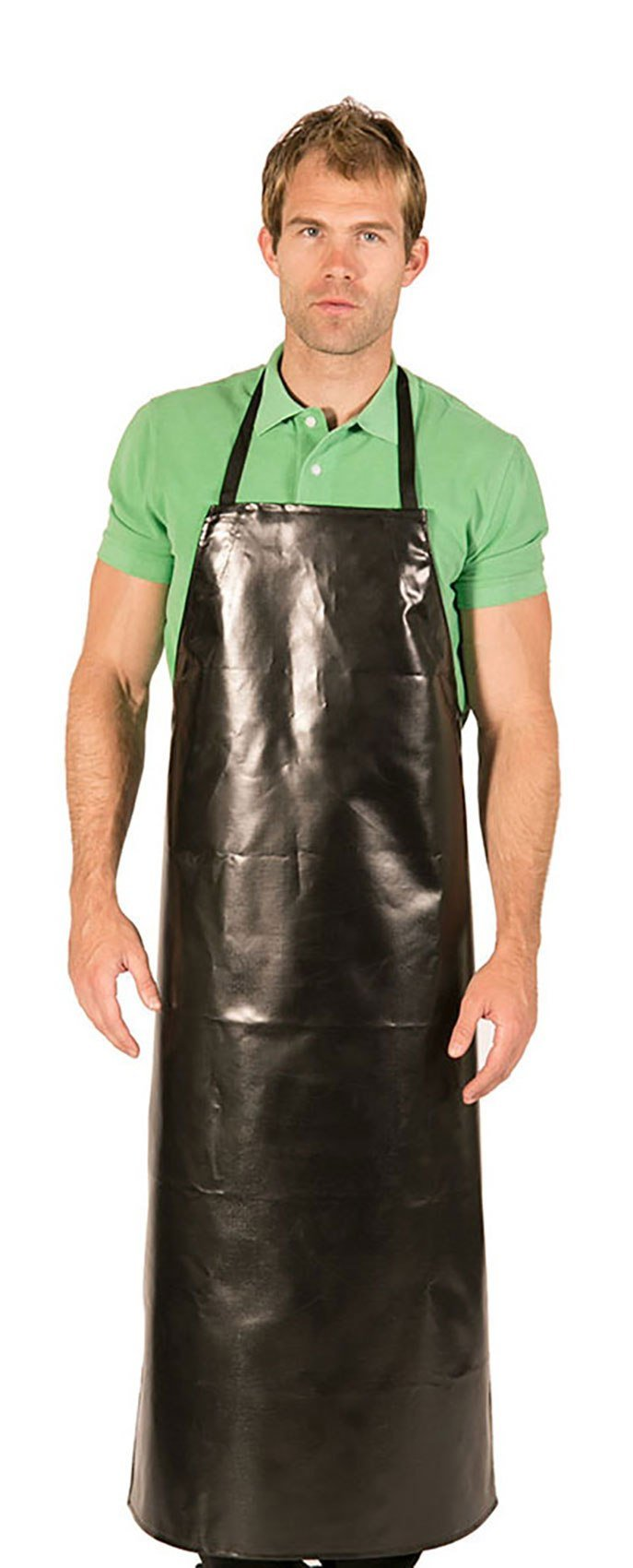 HI-LITE 888HDA Adjustable Janitorial & Chemical Bib Apron Extra Long, Waterproof, Black