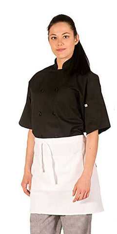 HI-LITE 930 1/2 Bistro Apron, Two Center Pockets, White