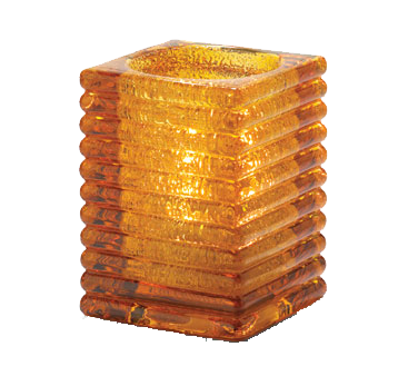 Hollowick 1511AJ Rib Block Lamp, horizontal, square, accommodates Hollowick's HD12, HD17 or HD26 disposable fuel cells, glass, amber jewel
