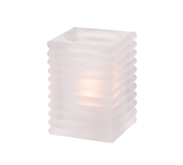 Hollowick 1511SC Rib Block Lamp, horizontal, square, accommodates Hollowick's HD12, HD17 or HD26 disposable fuel cells, glass, satin crystal