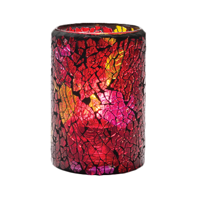 Hollowick 43017RG Crackle™ Lamp, cylinder style, accommodates Hollowick's fuel cell, glass, red/gold