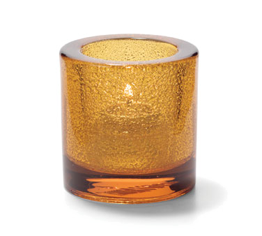 Hollowick 5140AJ Tealight Lamp, round, thick glass, accommodates Hollowick's HD8 disposable fuel cell, amber jewel