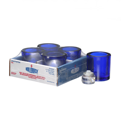 Hollowick 5140CBL-4 Tealight Lamp, Disposable Fuel Cell, Cobalt Blue