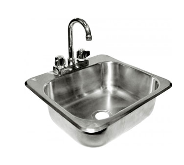 "GSW HS-1615IHG Hand Sink, standard drop in, 13-5/8""W x 11-1/8"" front-to-back x 6-3/8"" deep bowl"