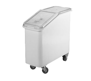 Cambro IBS20148 Ingredient Bin, mobile, 21 gallon capacity, molded polyethylene with sliding cover, S-hook on front scoop NOT included, 4 3 heavy duty casters 2 front swivel, 2 fixed, with bin securely attached to base plate, white with clear cover, NSF