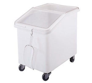 Cambro IBS37148 Ingredient Bin, mobile, 37 gallon capacity, 1-pc seamless polyethylene bin, 2-pc sliding polycarbonate lid, S-hook on front scoop NOT included, 4 3 heavy duty casters 2 front swivel, 2 fixed, white with clear cover, NSF