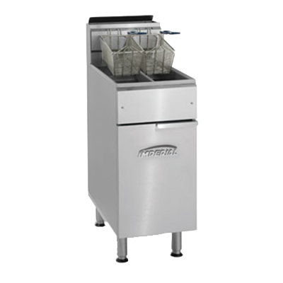 Imperial IFS-2525 Fryer, gas, floor model, 25lb. capacity each, (2) half size pots