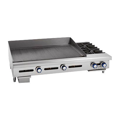 "Imperial IGG-36-OB-2 Griddle/Hotplate, gas, countertop, 48"", (2) open burners, (1) 36"" griddle cooking surface, 156,000 BTU, NSF"