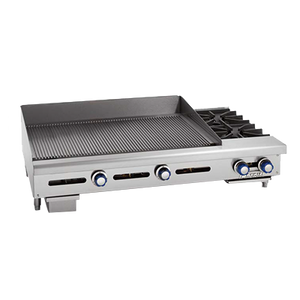 "Imperial IGG-72-OB-2 Griddle/Hotplate, gas, countertop, 84"", (2) open burners, (1) 72"" griddle cooking surface, 252,000 BTU, NSF"
