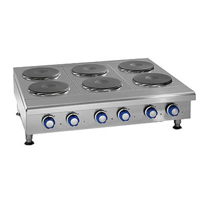 "Imperial IHPA-6-36-E Hotplate, electric, countertop, 36"", (6) round plate elements, solid top, CE"