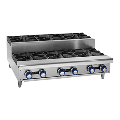 "Imperial IHPA-6-36SU Hotplate, gas, 36"", countertop, (3) open burners, (3) BTU step-up burners, 192,000 BTU, NSF"