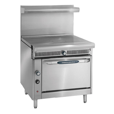 "Imperial IHR-1FT-C Diamond Series Heavy Duty Range, gas, 36"", French top, convection oven, 1/4 HP, 70,000 BTU, NSF"