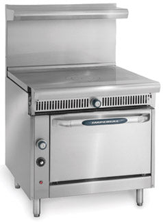 "Imperial IHR-1FT Diamond Series Heavy Duty Range, gas, 36"", French top, cast iron ring & lift off cover, standard oven, 75,000 BTU, NSF"