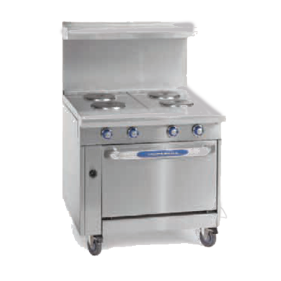 "Imperial IHR-2HT-2-E Heavy Duty Range, electric, 36"", (2) round elements, (2) 12"" hot tops, (1) standard oven, CE"