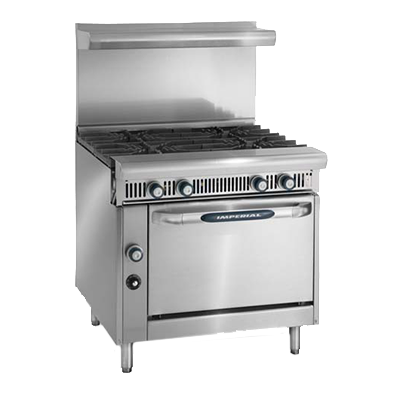 "Imperial IHR-6 Spec Series Heavy Duty Range, Gas, 36"", (6) open burners"