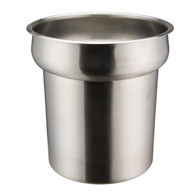 "Winco INS-4.0 Inset, 4 quart, 7-1/2"" x 7-1/2"", round, heavy weight stainless steel, mirror finish"