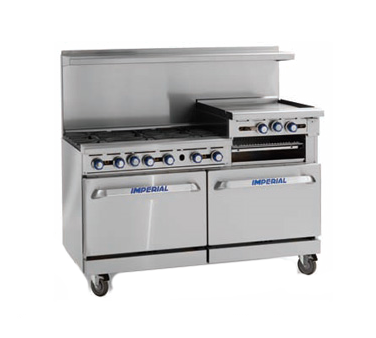 "Imperial IR-6-G24 Restaurant Range, gas, 60"", (6) open burners, (1) 24"" griddle, (2) standard ovens"