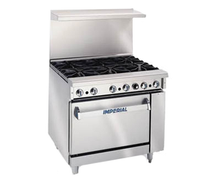 "Imperial IR-6 Pro Series 36"" Restaurant Gas Range - (6) Open Burners, Standard Oven"